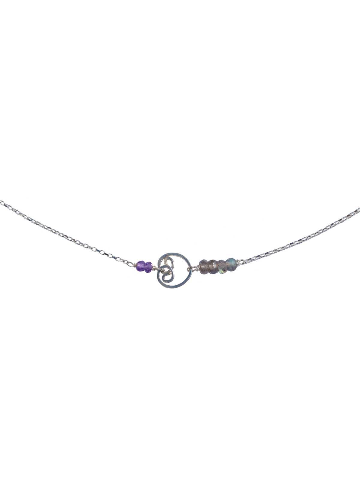 Buddha Necklace silver Labradorite Amethyst
