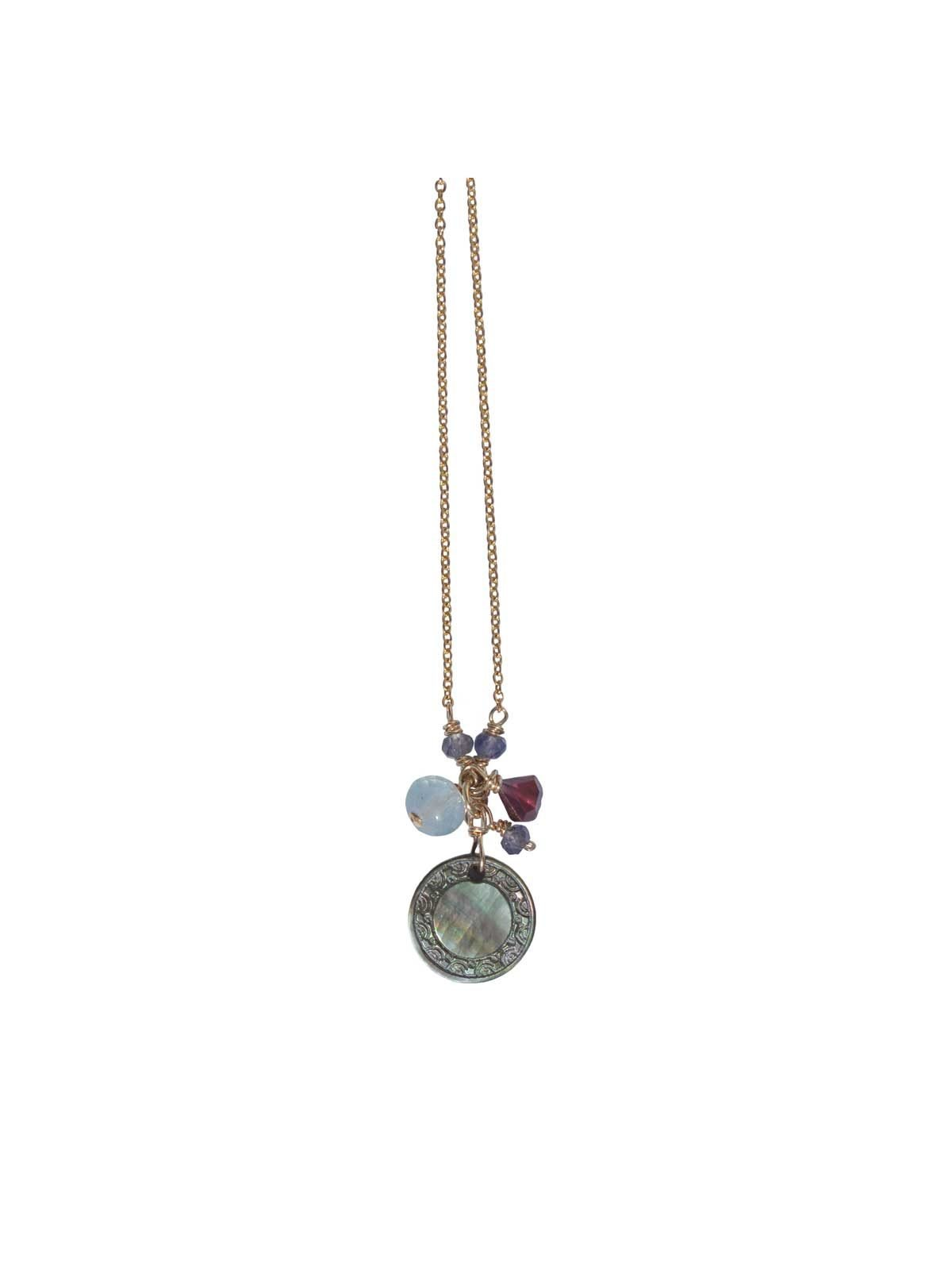 Mousheka Necklace Gold mother-of-pearl Garnet Iolite Aquamarine