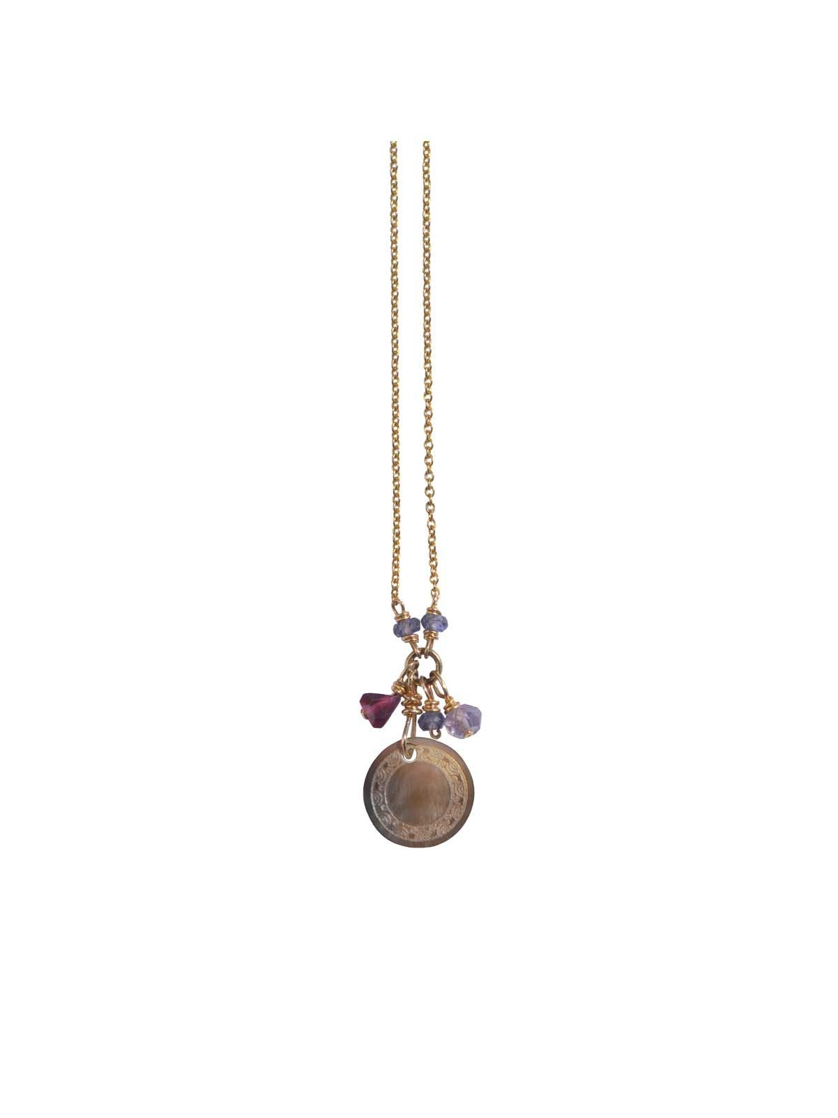 Mousheka Lila Necklace Gold mother-of-pearl Garnet Iolite Amethyst