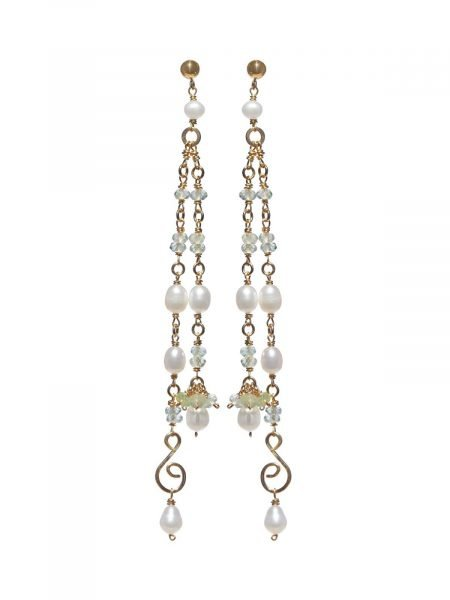Earrings Gold Prehnite and Freshwater Pearl