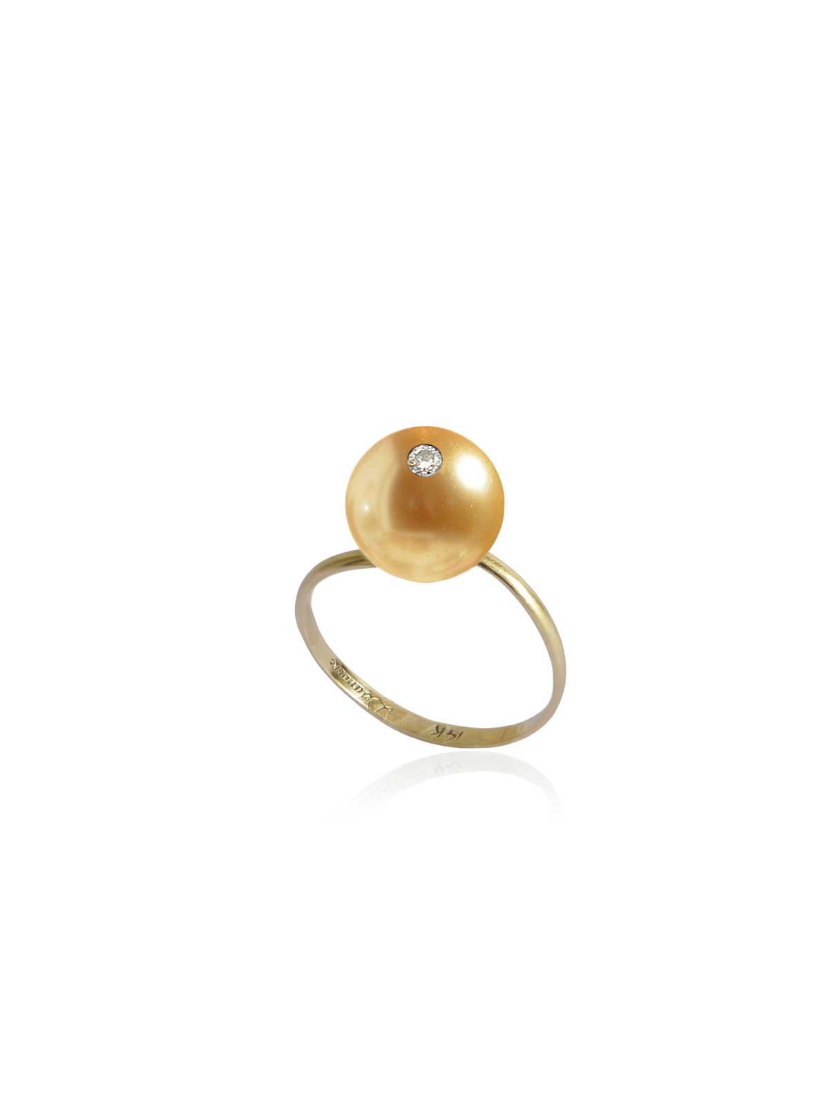 BAGUE ORGANZA perle dorée d'Australie Diamant