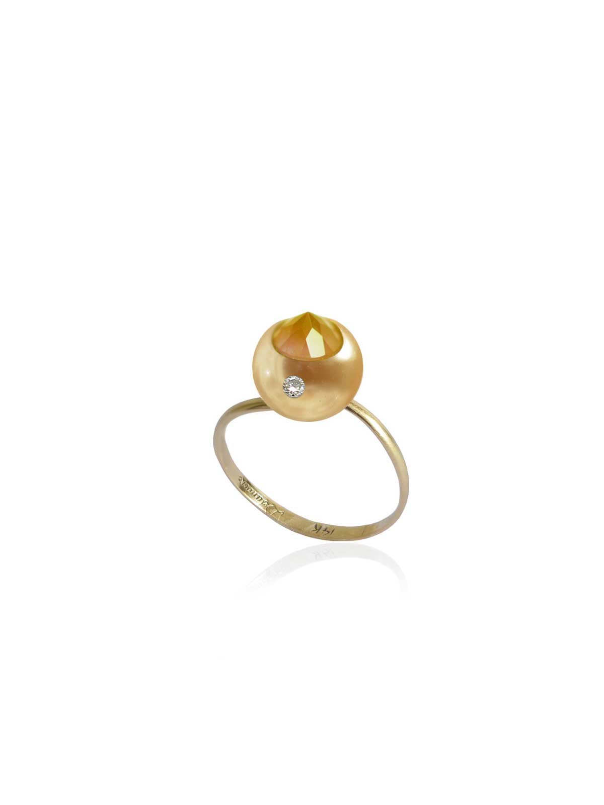 ORGANZA RING Golden South Sea Pearl White Diamond Citrine 14K yellow gold
