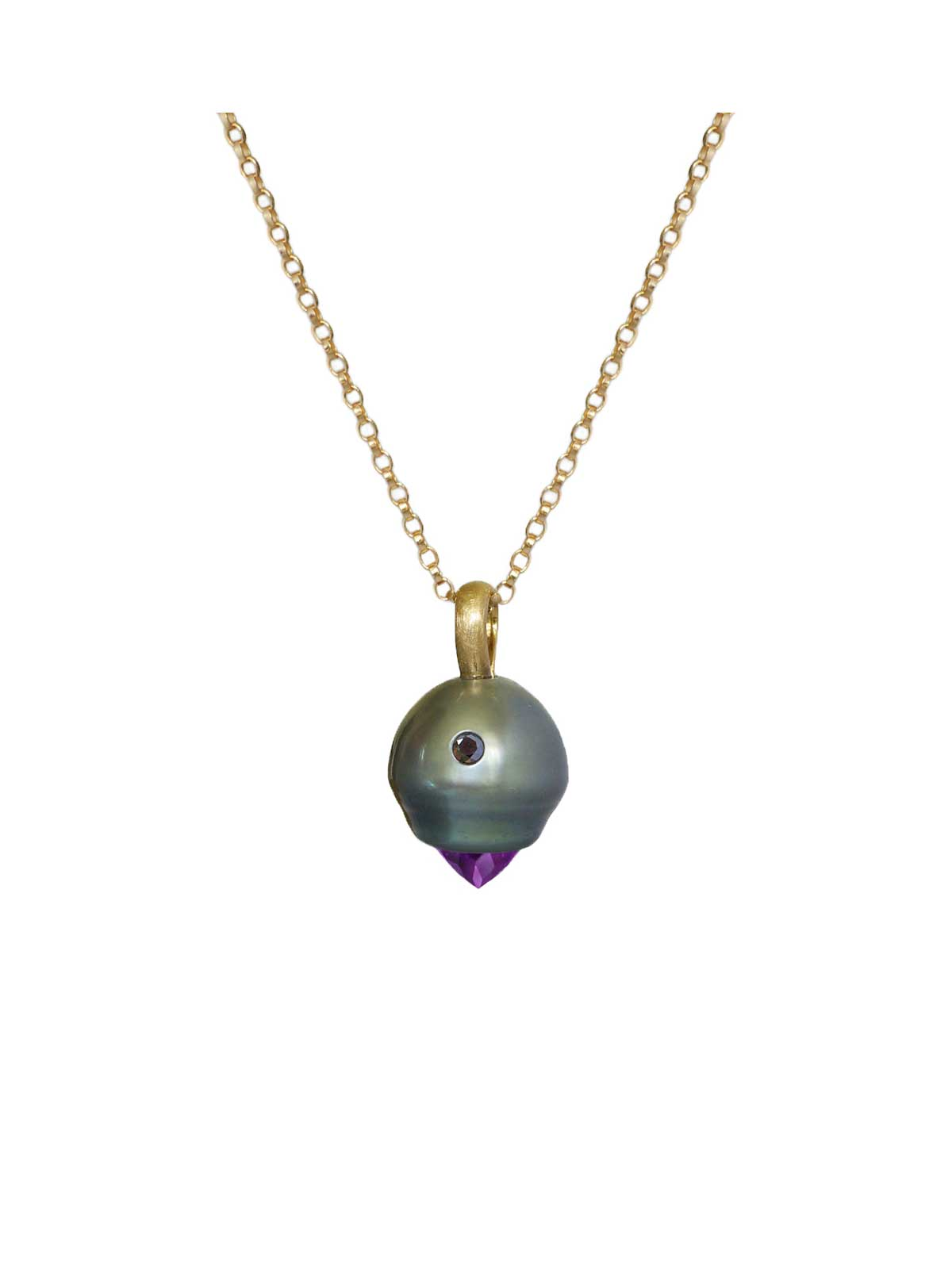 Panthere Pendant tahitian Pearl Amethyst black Diamond 14K yellow gold