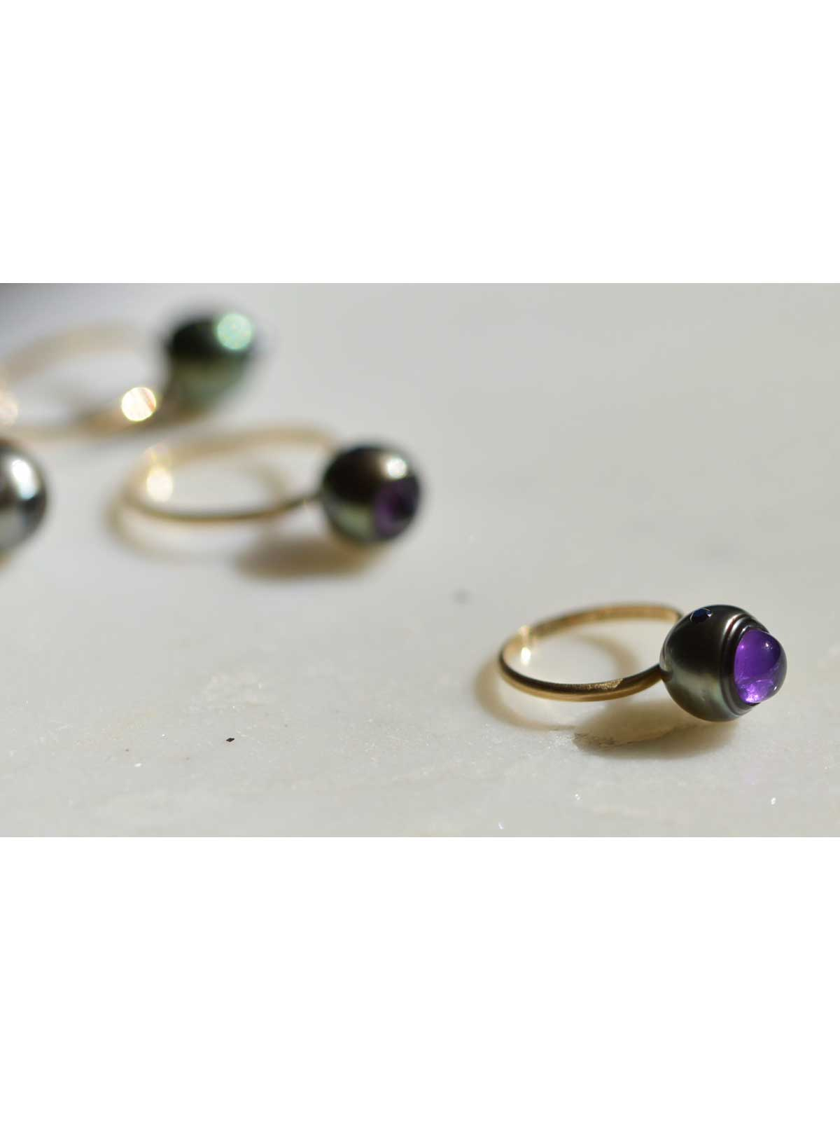 panthere ring Tahitian Pearl Black Diamond Amethyst 14K yellow gold