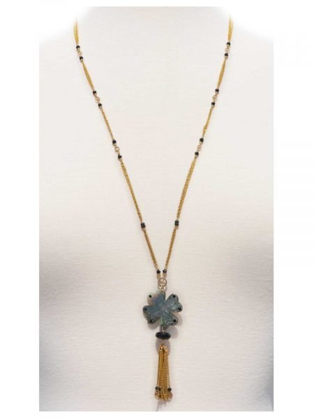 Romance Long Necklace Gold Mother-of-Pearl black Spinel