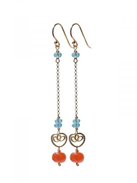 CORAIL Long Earrings Gold Carnelian with Apatite